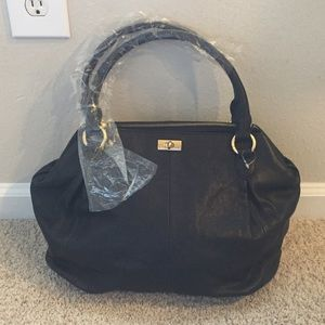 NWT J. Crew Collection Black Pebbled Leather Bag